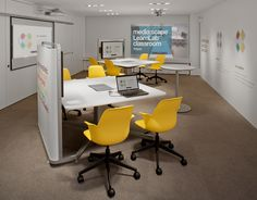 Steelcase media:scape 4-seat collaboration setups, incorporating technology for group work.