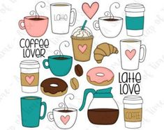 Coffee Lover Hand Drawn Digital Clipart - Set of 20 - Coffee, Latte, Donuts, Coffee Beans - Instant Coffee Doodle, Lovers Hands, Gingerbread Latte, Coffee Drawing, Bullet Journal Art, Coffee Latte, Coffee Maker, Starbucks Coffee, Coffee Shop
