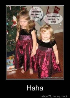 Reminds me very much of my childhood. Our mother dressed us alike and I hated it but my little sister liked it. Lol! :-P