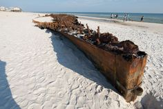 Shipwreck from the Civil War located on shore of Fort Morgan, Alabama appears after Hurricane Isaac.