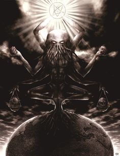 The Great Old One Cthulhu by enoxis.deviantart.com on @DeviantArt Hp Lovecraft, Lovecraft Cthulhu, Baphomet, Fantasy Creatures, Mythical Creatures, Yog Sothoth, Lovecraftian Horror, Eldritch Horror, Call Of Cthulhu