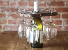 DIY Holder for Wine Bottle And Glasses | Woodworking Session