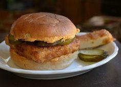 chicken fried tofu burger! (w/pimento cheese spread.)