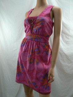 Free People Pink Purple Orange Cotton Empire Pleated Sun Dress  Size 12
