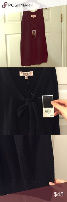 Juicy Couture Black V-neck Tie Merino Wool Dress Brand new with tags! Thank you for looking! This can be worn as a mini dress or as a long tank blouse with a pair of leggings. Juicy Couture Dresses Mini
