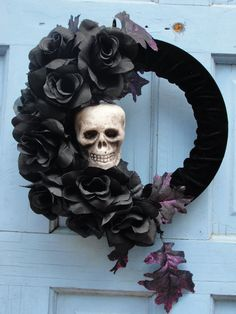 Halloween Wreath : Within the Black Roses  Handmade Item Material: Velvet Fabric, Black Roses, Mini Styrofoam Skull, Styrofoam wreath, purple