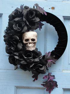 Halloween Wreath : Within the Black Roses Handmade Item Material: Velvet Fabric, Black Roses, Mini Styrofoam Skull, Styrofoam wreath, purple