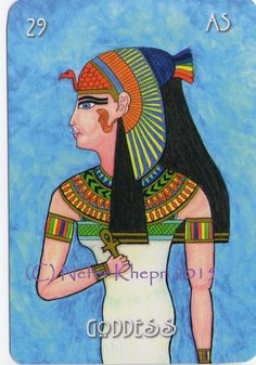 The Goddess card from The #EgyptianLenormand, copyright Nefer Khepri 2012, 2015 & Schiffer Books 2015. The Goddess is the Woman gender card (God is the male gender card). There is also a second set of gender cards (Priestess & Pharaoh). This is Queen Nefertiti dressed as the goddess, Isis.