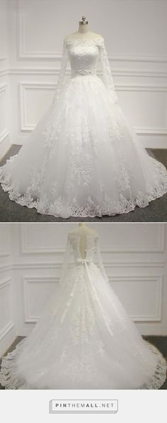 Off-the-shoulder Wedding Dress,Long Sleeve Bridal Dress,Ball Gown Wedding Dress,Beading Bridal Dress on Luulla - created via https://pinthemall.net