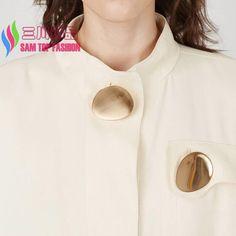 2016 새로운 패션 펑크 Unfaded 빛나게 골드 도금 합금 달걀 모양 T 쇼 의상 브로치 핀 여성 액세서리