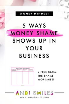 Many small business owners have money shame which has a big impact on their small business finances. Do you have money shame? Read the article to learn 5 ways money shame shows up on your business and get the free worksheet. Business Money, Business Tips, Online Business, Creative Business, Business Accounting, Business School, Starting A Business, Business Planning, Are You Serious