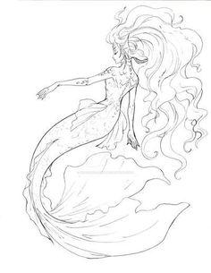 Mermaid line art by sharonearth.devia… on Mermaid line art by sharonearth. Mermaid Artwork, Mermaid Drawings, Mermaid Tattoos, Mermaid Tail Drawing, Mermaid Paintings, Mermaid Pose, Mermaid Tails, Mermaid Mermaid, Vintage Mermaid
