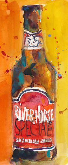 RIVER HORSE Beer Art Print from Original Watercolor  by dfrdesign