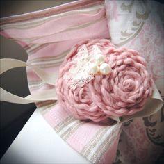 vintage pink rosette headband