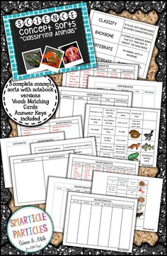 Three concept sorts for teaching beginning classification of animals. Perfect for grades 3-5!