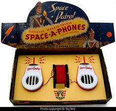Space Patrol Space-A-Phones - 1950s - walkie talkie set based on the popular tv show Space Patrol