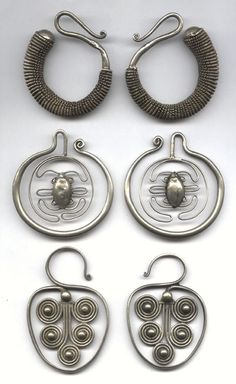 antique asian tribal earrings