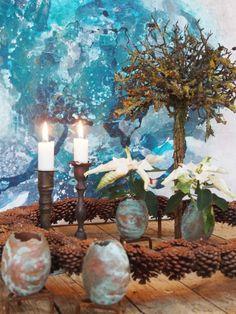 Billeder fra jul i galleriet/kursusrummet og åben julehave nu på lørdag og søndag fra kl 13 til 18 – Bruun's Have Concrete, Table Decorations, Flowers, Christmas, Nice Things, Painting, Home Decor, Noel, Nature
