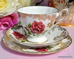 Paragon Pink Rose and Gold Filigree Vintage China Teacup Trio c.1960s
