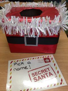#secretsanta we have Secret Santa at work so I made a box to pick the names out of. Very excited for Christmas!