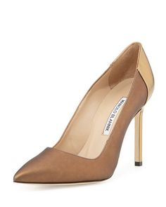 Manolo Blahnik BB Coated Satin Combo Pumps $735 Fall 2014 #Manolos #Shoes #Heels