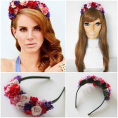 Lana Del Rey Inspired MultiColor Flower Crown by YayFlowerCrownz, $38.00