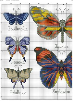 Cross stitch butterfly and chart. Butterfly Stitches, Butterfly Cross Stitch, Cross Stitch Bird, Cross Stitch Animals, Cross Stitch Charts, Cross Stitching, Cross Stitch Embroidery, Cross Stitch Patterns, Hama Art