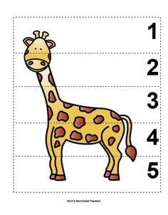 Number Sequence Preschool Picture Puzzle - Giraffe from Worksheet Teacher Zoo Activities Preschool, Preschool Pictures, Sequencing Activities, Animal Activities, Preschool Worksheets, Preschool Jungle, Camping Activities, The Zoo, Number Sequence