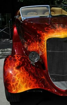 Full fendered '34 Ford with Amazing flames, paint, motorcycle headlight & a Duval Windshield!...Verwey Cool! LL:)