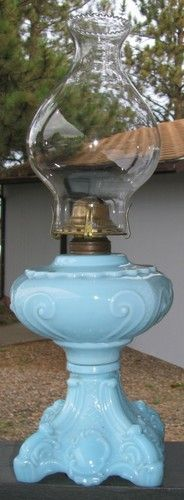 RARE Authentic Antique Princess Feather Oil Lamp Kerosene Blue Large Glass EAPG | eBay