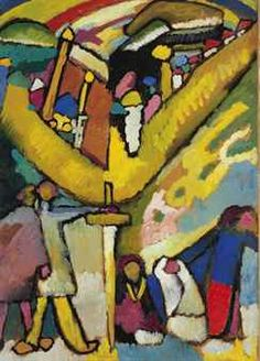 By Wassily Kandinsky (1866-1944), 1909  My title for this would be 'The Church' and I especially love the central figure with what looks like a sword.