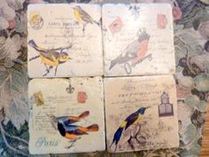 Tumbled Marble Coasters, Vintage French Postcards, Birds, set of 4 marble coasters - French Country