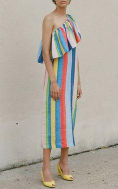 Rainbow One Shoulder Ruffle Midi Dress by MARA HOFFMAN for Preorder on Moda Operandi