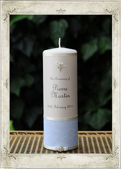 Christening - French Blue Single Candle - Personalised Candles Sydney | Wedding, Christening, Baptism, Birth, Naming Day Candles | Adorned Candle Boutique