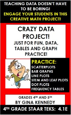 """FUN, CREATIVE DATA PROJECT! STUDENTS PRACTICE CREATING LINE PLOTS, STEM AND LEAF PLOTS, BAR GRAPHS, SCATTERPLOTS, FREQUENCY TABLES AND DOT PLOTS AND HAVE FUN AT THE SAME TIME! Students choose from a funny theme such as """"ants in people's pants"""" and then begin creating enough silly data to formulate four types of tables or graphs. A fun way hands-on creative way for students to work with a variety of graphs.  100% aligned to Texas 4th Grade STAAR TEKS 4.1E!"""