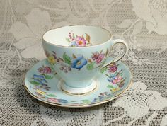 Vintage EB Foley Floral Garland Cup and Saucer