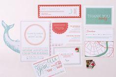 Boudreax Letterpress/Digital Wedding Invite Set by WednesdayPress, $10.00