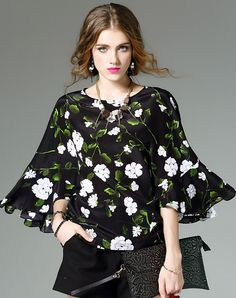 #AdoreWe #VIPme T-Shirts - mojaser Black Silk Floral Printed Bell Sleeve T Shirt - AdoreWe.com