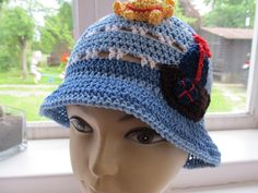crochet hat with a sailboat - 100% cotton