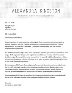 Alexandra Kingston Cover Letter Template  Alexandra Kingston