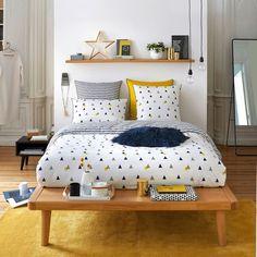 Housse de couette imprimée percale de coton digna bleu/blanc/jaune La Redoute Interieurs | La Redoute