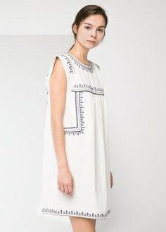 Geometric embroidery dress - Dresses - Women - MANGO
