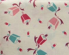vintage FULL feed sack fabric -- tulips, bells and ribbons novelty print
