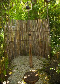 Bathroom, Rustic Outdoor Shower Design With Bamboo Partition And Stylish Traditional Natural Rain Shower Head: Glamorous Outdoor Shower Design Inspiration