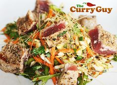This is a quick and easy seared tuna dish with garam masala crust. The Asian style coleslaw compliment the flavours of the tuna nicely. Large Salad Bowl, Salad Bowls, Pasta Salad, Pan Seared Tuna Steak, Tuna Steaks, Tuna Steak Recipes, Fish Recipes, Best Selling Cookbooks, Carrot And Coriander