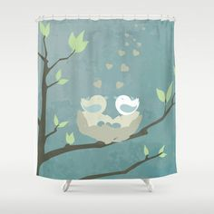 love birds on a tree with eggs... minimalistic print Shower Curtain by studiomarshallarts - $68.00