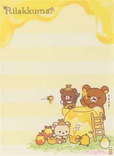 Rilakkuma and friends eating honey mini Note Pad by San-X - Memo Pads - Stationery - Kawaii Shop Kawaii Stationery, Stationery Paper, Memo Template, Rilakkuma Wallpaper, Memo Notepad, Pen Pal Letters, Cute Notes, Kawaii Shop, Note Paper