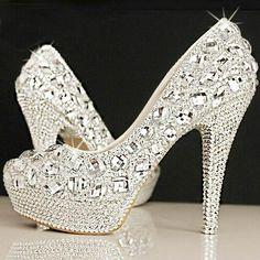 Crystal bridal shoes rhinestone handmade female silver high heels platform wedding  shoes women pumps 28a6e45a0d62