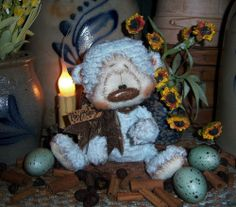 "Primitive Fuzzy Cub Teddy Bear 5"" Doll ★ Vtg Patti's Ratties Mini Baby Blue OOAK"