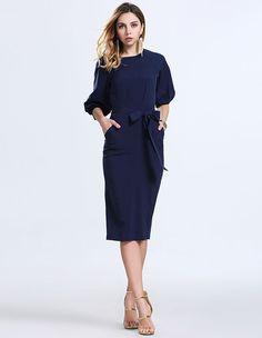 Dark Blue Lantern Sleeve Slim Belted Chiffon Midi Dress